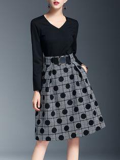 Shop Midi Dresses - Black Long Sleeve Pockets Polka Dots Midi Dress online. Discover unique designers fashion at StyleWe.com.