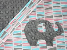 Elephant Blanket with Charcoal Gray Minky & Pink, Aqua, and Gray Geometric Pattern - Modern Toddler or Baby Girl Blanket