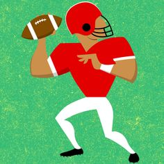 Stylised / graphic NFL quarterback, pitching ball. Retro illustration + design by Robert Grieves / BERT Animation