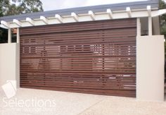 Great for garages that lack natural light, the Selections Aluminium Slat 65 Sectional Overhead Door comes in a range of Dulux colours to suit any home. Metal Garage Doors, Garage Gate, Modern Garage Doors, Carport Garage, Garage Door Design, Carport Designs, Carport Ideas, Fence Ideas, Garage Ideas