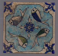 Antique Handmade Persian Tile Painted Glazed Ceramic