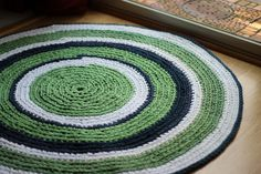Nursery Rug Kelly Green Navy and White Round Rag Rug by EsTeRaP