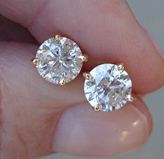Classic 2.01 cttw Diamond Solitaire Studs Earrings 14K Yellow Gold $2999