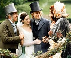 Tom Courtenay as Newman Noggs, Anne Hathaway as Madeline Bray, Charlie Hunnam as Nicholas Nickleby and Barry Humphries as Mrs Crummles in Ni. Charlie Hunnam, Period Movies, Period Dramas, Anne Hathaway, Tom Courtenay, Different Types Of Books, Nicholas Nickleby, Elizabeth Gaskell, Wedding Movies