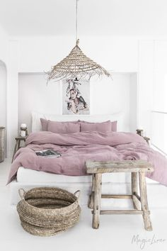 Linen bedding set in Woodrose (Dusty Pink). King/ Queen washed linen duvet cover set with 2 pillowca Washed Linen Duvet Cover, Bed Linen Sets, Bed Sets, Linen Pillows, Duvet Sets, Duvet Cover Sets, Linen Bedding, Bed Linens, Diy Pillows