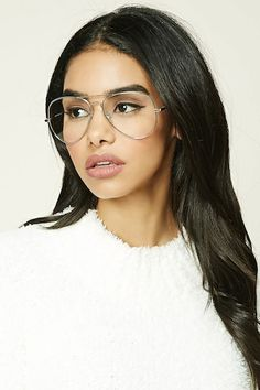 A pair of reader glasses featuring aviator frames and clear lenses. Glasses Outfit, Fake Glasses, Fashion Eye Glasses, Girls With Glasses, Oprah Glasses, Glasses Frames, Cute Sunglasses, Sunglasses Women, Sunnies