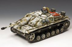World War II German Winter BBG049LE Stug III Ausf. G Tank set Winter paint version - Made by King and Country Military Miniatures and Models. Factory made, hand assembled, painted and boxed in a padded decorative box. Excellent gift for the enthusiast.