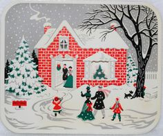 626 50s MID Century House IN THE Snow Vintage Christmas Greeting Card   eBay