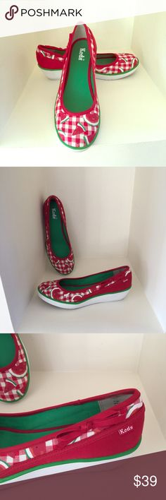 KEDS Low Wedge Heels Most adorable KEDS I have ever seen!!  These KEDS are a red and white gingham check pattern with a watermelon print on them and little red bows on the side.  (See third photo).  Selling for a friend.  Shoes are in Pristine condition.  Worn a handful of times.  The only minor issue is the soles are dirty which is expected .  They are white and you have to walk on them so you expect them to get dirty.  No PP or trades.  Smoke and pet free home.  Will consider Reasonable…