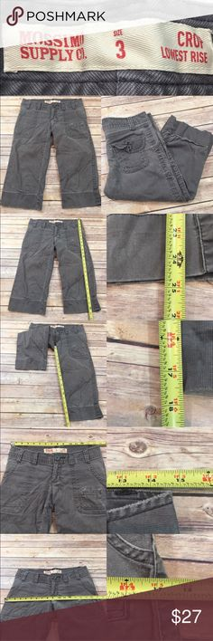 Sz 3 Mossimo Gray Corduroy Lowest Rise Crop Pants • Measurements are in photos  • Material tag is in photos • Normal wash wear, no flaws  • Corduroy  • Straight leg  • Lowest Rise  D2/37  Thank you for shopping my closet! Mossimo Supply Co. Pants Capris