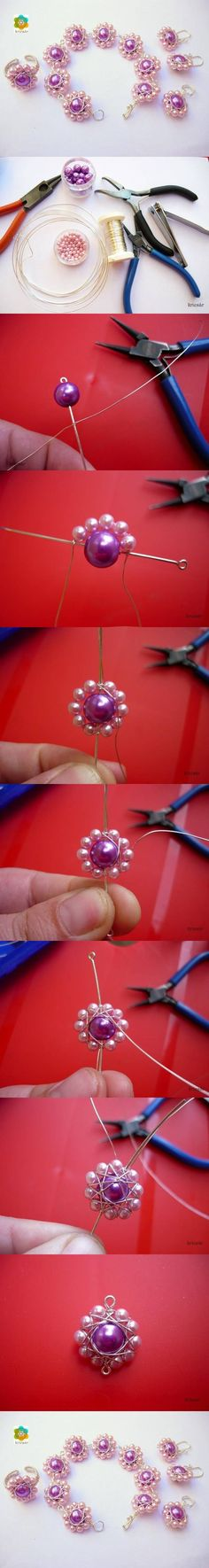 DIY Bead Flower Internet Tutorial I can skip the wire part, maybe some seed beads:D Wire Wrapped Jewelry, Wire Jewelry, Beaded Jewelry, Handmade Jewelry, Jewlery, Beaded Bracelet, Diy Bracelet, Wire Crafts, Bead Crafts