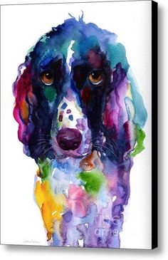 Colorful English Setter Spaniel Dog Portrait Art Canvas Print / Canvas Art By Svetlana Novikova