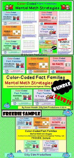 $ Color-Coded Fact Families Mental Math Strategies HOUSES! PowerPoint *Color Centers *Black/White Choices Save $5 with the BUNDLE: All 5 Strategies Try the FREEBIE SAMPLE! Silly Sam Productions