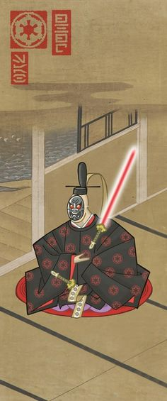 Star Wars goes Japanese! A follow up on the SW goes victorian. More pieces: http://couch.graphic.ly/post/501598806/star-wars-japanese-style   #Star_Wars #SW #Art #Fanart