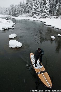 "Mary...what do you think???""Winter SUP on the Truckee River 8"" - by @Tony Spiker #SUP #Truckee #snow"
