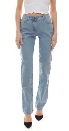 Diese Jeans ähnelt einer Mom Jeans und ist in einem schönen Hellblau erhältlich. #momjeans #jeans #denim #denimjeans #sheego #blue #blau Denim Jeans, Mom Jeans, Stretch Jeans, Sheego, Pants, Fashion, Light Blue, Embroidery, Trousers