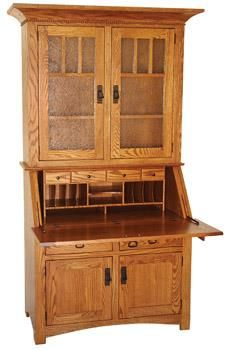Amish Small Secretary Desk with Hutch Secretary Desk With Hutch, Desk Hutch, Secretary Desks, Amish Furniture, Office Furniture, Furniture Design, Amish Crafts, Large Desk, Wood Species