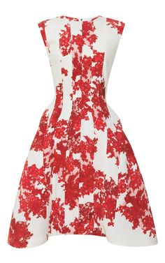 Shop Lace Printed Crepe De Chine Dress by Thom Browne Now Available on Moda Operandi