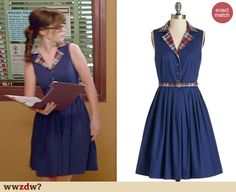 Zooey Deschanel's blue shirtdress with plaid collar on New Girl. Outfit Details: http://wwzdw.com/z/4723