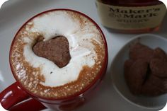 girlichef: Dark Hot Chocolate with Bourbon Whipped Cream and Homemade Chocolate Marshmallows