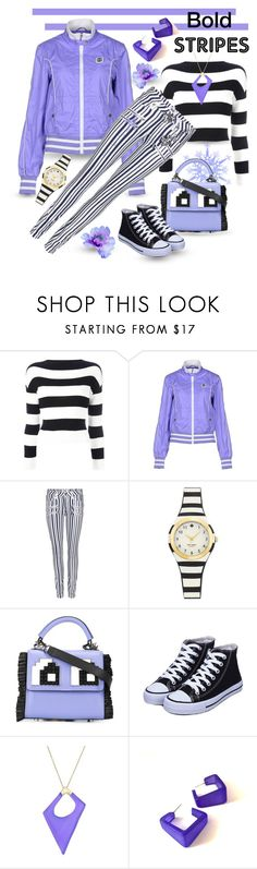 """Bold Stripes"" by giovanina-001 ❤ liked on Polyvore featuring Boutique Moschino, Paige Denim, Les Petits Joueurs and Alexis Bittar"