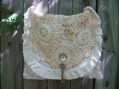 Upcycled doily lace foldover purse