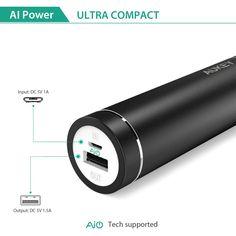 AUKEY Batería Externa, Power Bank, Cargador con Celda de alta densidad LG, Batería portátil con AIPower Tech para iPhone 6 / 6 Plus/ 6S/ 6s Plus, iPad Air 2 / mini 3, Galaxy S6 / S6 Edge,etc (5000mAh Negro): Amazon.es: Electrónica