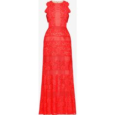 BCBGMAXAZRIA Merida Floral Lace Gown (23.815 RUB) via Polyvore featuring dresses, gowns, red ball gown, lace evening dresses, red evening dresses, red evening gowns и lace dress