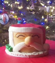 Santa Fondant Cake is so sweet! With a big button nose, you want him at your holiday party! St.Nick, Santa, Fondant Santa Cake, Holiday Celebration