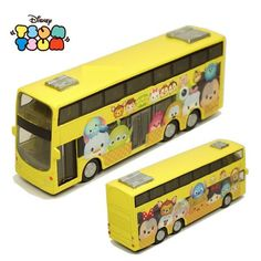 Tsum Tsum Diecasts Cartoon Bus Pull Back Cars Mickey Mouse Donald Duck Minnie Kids Toys