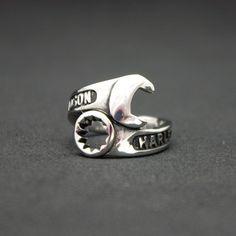 Mens Harley Davidson Spanner Ring | Adjustable Sz | Male Mechanic Biker Jewelry