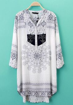 White Floral Print Embroidery Blouse