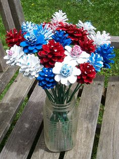 Pine Cone Flowers, Painted Pine Cones,  on 12-inch Wood Stems.  Patriotic.  Red, white, and blue.  4th of July, Flag Day.  Gifts for women.