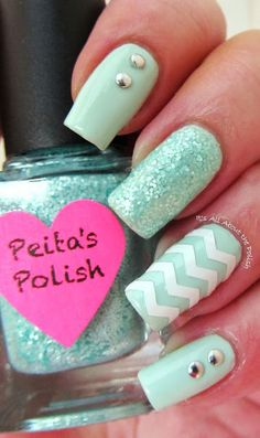 Its all about the polish: Mint Green Chevron
