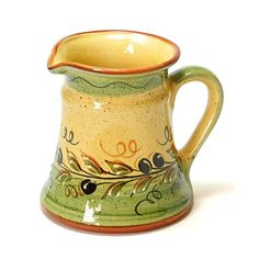 ポルトガル製 陶器 ピッチャー ブラック オリーブ柄 手描き 水差し 黄色 pfa-33g-ov
