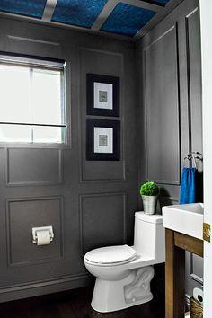 reveal dated powder room gets a moody makeover, bathroom ideas, small bathroom ideas, wall decor Powder Room Wallpaper, Of Wallpaper, Textured Wallpaper, Bathroom Design Small, Bathroom Colors, Bathroom Ideas, Bathroom Gray, Bathroom Trends, Bathroom Layout