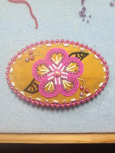 Medium Barrette on deer leather with porcupine quills by Alaska Beadwork