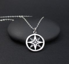 North Star Compass Necklace Sterling Silver by themoonflowerstudio Compass Jewelry, Compass Necklace, Star Necklace, Pendant Necklace, Cute Jewelry, Jewelry Accessories, Jewelry Box, Good Luck Necklace, Zodiac Jewelry