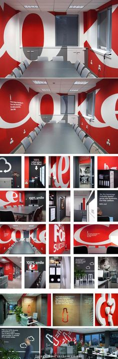 Creative Office Coca-cola head office in Beograd. Design by Peter Gregson – created via pinthema… Office Mural, Office Signage, Red Office Chair, Office Branding, Identity Branding, Office Chairs, Visual Identity, Environmental Graphic Design, Environmental Graphics