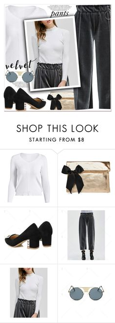 """""""Gray velvet leg pants"""" by paculi ❤ liked on Polyvore featuring Clare V."""