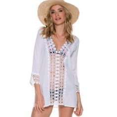 "white crochet mini dress/ tunic This beautiful mini dress/ tunic features sheer crochet inserts on front and on the sleeves..100% cotton...can be worn as a mini dress or tunic or beach cover up, 28"" shoulder to hem Dresses Mini"