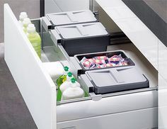 Special under-sink pull-outs skilfully use every inch of space for storage: OrgaFlex for InnoTech Clever Kitchen Storage, Tidy Kitchen, Kitchen Storage Solutions, Larder Cupboard, Kitchen Cupboard Doors, Kitchen Space Savers, Sliding Door Systems, Under Sink, Types Of Furniture