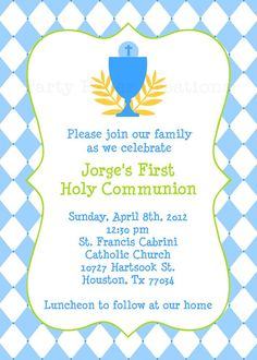 Personalized Baptism Christening First Holy Communion Invitation Printable File on Etsy, $12.00