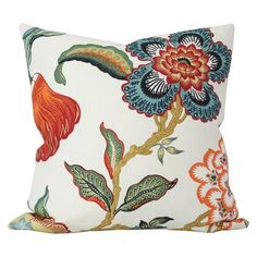 Hot House Spark Schumacher Designer Pillow Cover - Made-to-Order - Multi-color floral blue orange green red Pillow Cover Design, 20x20 Pillow Covers, Decorative Pillow Covers, Small Pillows, Throw Pillows, Bed Pillow Arrangement, Sofa Bed Size, Hot House, Luxury Throws