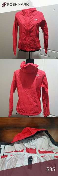 Women's pink North Face rain coat, size small Women's pink North Face rain coat,  size small.  There is peeling in the hood as shown in picture.  No stains. North Face Jackets & Coats