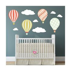 Hot Air Balloons and Clouds Nursery Wall Decals