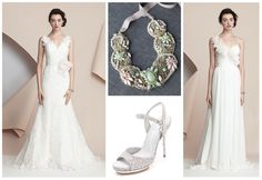 """Coming up roses! Light pink hues in our Alyne Bridal """"Catherine"""" and """"Mercedes"""" gown shown with a Rivini necklace xo"""
