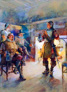 English Parliamentarian Roundheads in a tavern during the English Civil War