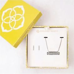 Kendra Scott Jon & Lleanor Gift Set in Platinum Color Drusy & Rhodium Plated
