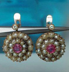 THE CUTEST ART DECO 14K ROSE GOLD NATURAL PEARL, DIAMOND RUBY DROP EURO EARRINGS